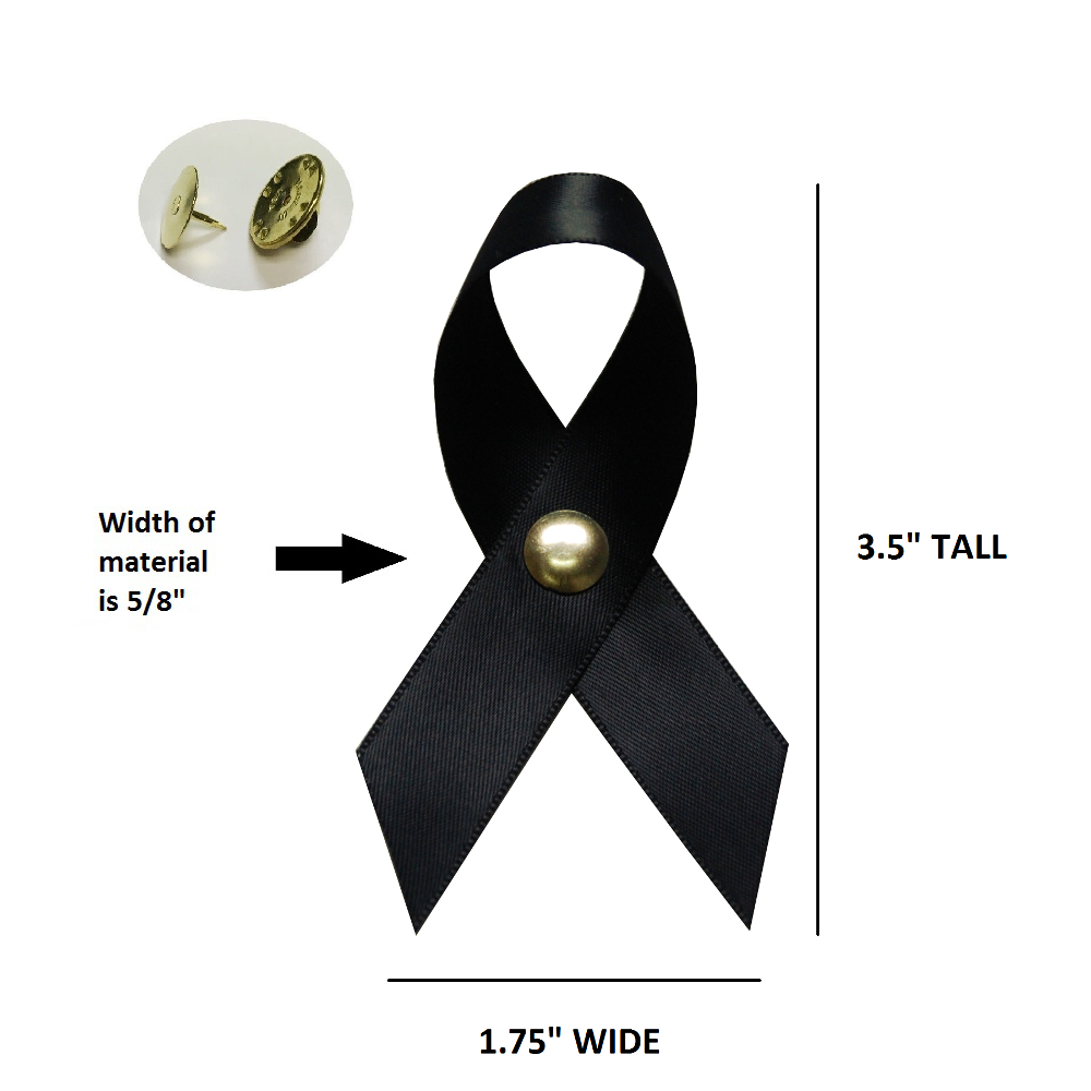 Large Black Satin Awareness Ribbons (Clutch Pins Attached)